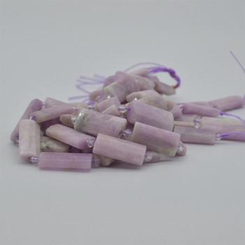 "High Quality Grade A Natural Kunzite Semi-precious Gemstone Pillow / Rectangle / Pendant / Beads - approx 15.5"" strand"