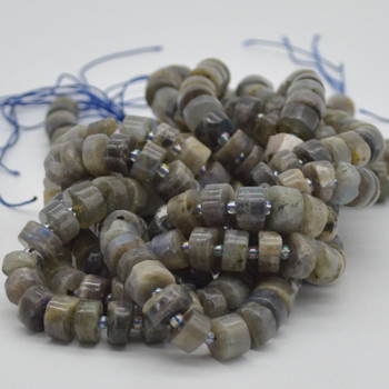 """High Quality Grade A Natural Hand Polished Labradorite Semi-Precious Gemstone Rondelle / Spacer Beads - approx 10mm x 5mm - 15.5"""" strand"""