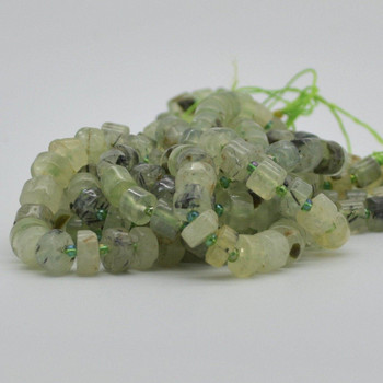 "High Quality Grade A Natural Hand Polished Prehnite Semi-Precious Gemstone Rondelle / Spacer Beads - approx 10mm x 5mm - 15.5"" strand"