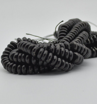 """High Quality Grade A Natural Shungite Semi-Precious Gemstone Rondelle Spacer Beads - approx 10mm x 5mm -  15.5"""" strand"""