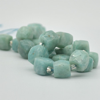 "High Quality Grade A Natural Amazonite Faceted Cube Semi-precious Gemstone Beads - 10mm - 15"" long strand"