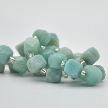 "High Quality Grade A Natural Amazonite Faceted Cube Semi-precious Gemstone Beads - 8mm - 15"" long strand"