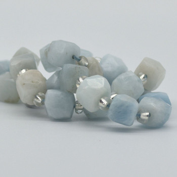 "High Quality Grade A Natural Aquamarine Semi-precious Gemstone FACETED Cube Beads - 8mm - 15"" long strand"