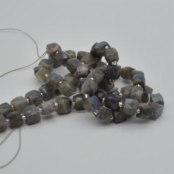 "High Quality Grade A Natural Labradorite Semi-precious Gemstone Faceted Cube Beads - 10mm - 15"" long strand"