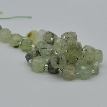 "High Quality Grade A Natural Prehnite Faceted Cube Semi-precious Gemstone Beads - 10mm - 15"" long strand"