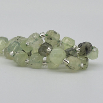 "High Quality Grade A Natural Prehnite Faceted Cube Semi-precious Gemstone Beads - 8mm - 15"" long strand"