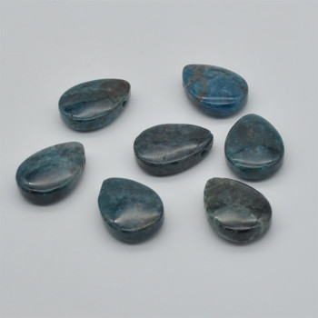 Natural Apatite Teardrop Shaped Semi-precious Gemstone Pendant - Approx  3.5cm x 2.5cm - 1  count