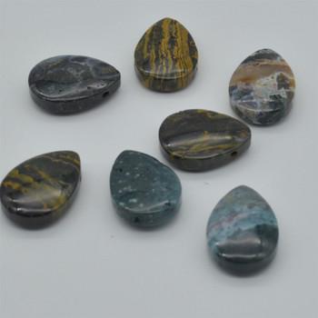 Natural Ocean Jasper Teardrop Shaped Semi-precious Gemstone Pendant - Approx  3.5cm x 2.5cm - 1  count