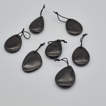 Natural Shungite Teardrop Shaped Semi-precious Gemstone Pendant - Approx  4cm x 3cm - 1  count