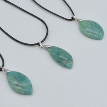 Natural Amazonite Leaf Shaped Semi-precious Gemstone Pendant - Approx length 3cm - 4cm