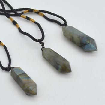 Natural Labradorite Double Terminated Pointed Semi-precious Gemstone Pendant - 1 Count - Approx length 4cm - 5cm