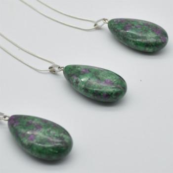 Natural Ruby Zoisite Teardrop Shaped Semi-precious Gemstone Pendant - approx length 3.5cm - 4cm