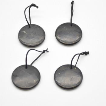 Natural Shungite Coin / Disc Shaped Semi-precious Gemstone Pendant - approx 30mm x 0.5mm - 1  count