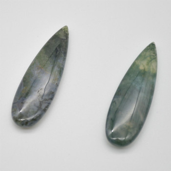 High Quality Grade A Natural Moss Agate Semi Precious Gemstone Teadrop Earring / Beads - approx 5cm x 1.5cm - 1 pair