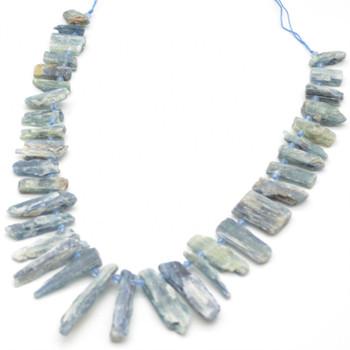 "Raw Natural Kyanite Graduated Semi-precious Gemstone Point Beads / Pendants - approx 1.5cm - 4.5cm length - approx 16"" long strand"