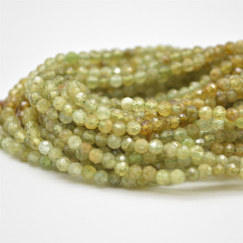 "High Quality Grade A Natural Green Garnet Semi-Precious Gemstone FACETED Round Beads - approx 2.5mm - 15.5"" long"