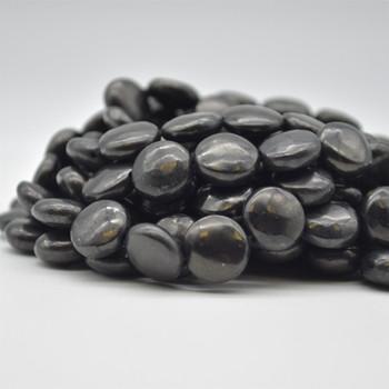 "High Quality Natural Grade A Shungite Semi-precious Gemstone Disc Coin Beads - approx 12mm - 15.5"" long strand"