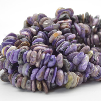 """High Quality Grade A Natural Charoite Semi-precious Gemstone Chunky Chips Nuggets Beads - approx 8mm - 15mm x 1mm - 6mm -  15.5"""" strand"""