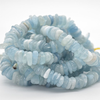 "High Quality Grade A Natural Aquamarine Semi-precious Gemstone Chunky Chips Nuggets Beads - approx 8mm - 15mm x 1mm - 6mm -  15.5"" strand"