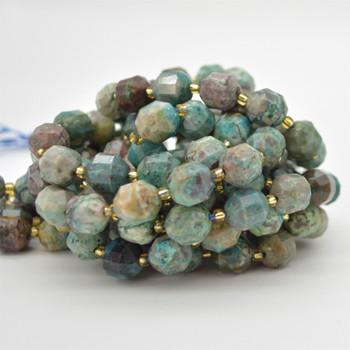 "Grade A Natural Chrysocolla Semi-precious Gemstone Double Tip FACETED Round Beads - 9mm x 10mm - 15.5"" strand"
