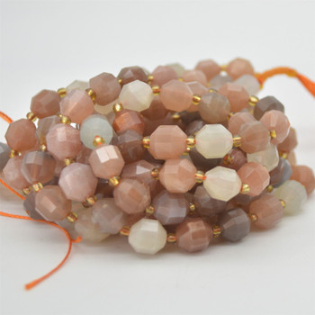 """Grade A Natural Peach Moonstone Semi-precious Gemstone Double Tip FACETED Round Beads - 9mm x 10mm - 15.5"""" strand"""