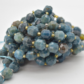 """Grade A Natural Apatite Semi-precious Gemstone Double Tip FACETED Round Beads - 9mm x 10mm - 15.5"""" strand"""