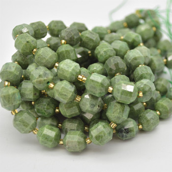 """Grade A Natural Russian Green Chrome Diopside Semi-precious Gemstone Double Tip FACETED Round Beads - 9mm x 10mm - 15.5"""" strand"""