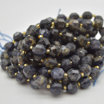 """Grade A Natural lolite Semi-precious Gemstone Double Tip FACETED Round Beads - 9mm x 10mm - 15.5"""" strand"""
