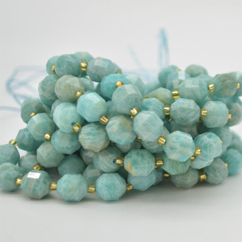 "Grade A Natural Amazonite Semi-precious Gemstone Double Tip FACETED Round Beads - 9mm x 10mm - 15.5"" strand"
