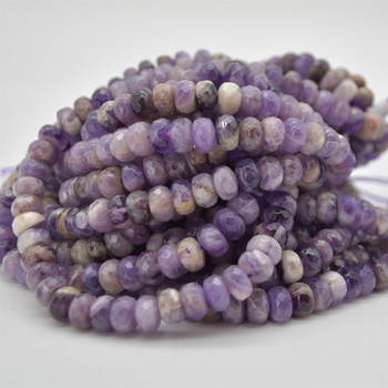 "Grade A Natural Chevron Amethyst Semi-precious Gemstone FACETED Rondelle Spacer Beads - 8mm x 5mm - 15.5"" strand"