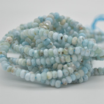 "Grade A Natural Larimar Semi-precious Gemstone FACETED Rondelle Spacer Beads - 4mm x 3mm - 15.5"" strand"