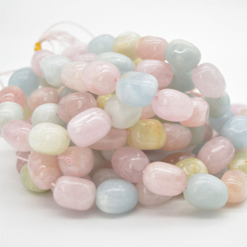 "High Quality Grade A Natural Morganite Semi-precious Gemstone Large Nugget Tumblestone Beads - approx 12mm - 16mm x 10mm - 12mm - 15.5"" long"
