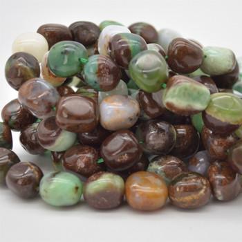 "High Quality Grade A Natural Australian Chrysoprase Semi-precious Gemstone Large Nugget Beads - approx 15mm - 20mm x 10mm - 12mm - 15.5"""