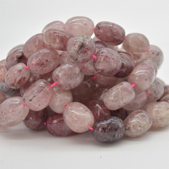 "High Quality Grade A Natural Strawberry Quartz Semi-precious Gemstone Large Nugget Beads - approx 12mm - 16mm x 10mm - 12mm - 15.5"" long"