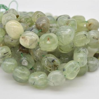 "High Quality Grade A Natural Prehnite Semi-precious Gemstone Large Nugget Tumblestone Beads - approx 12mm - 16mm x 10mm - 12mm - 15.5"" long"