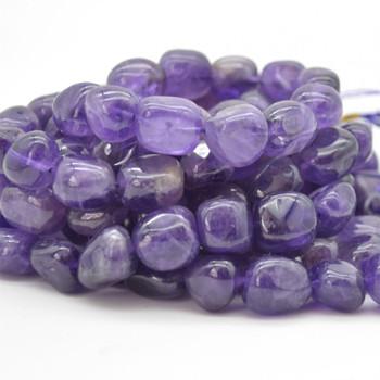 "High Quality Grade A Natural Amethyst Semi-precious Gemstone Large Nugget Tumblestone Beads - approx 12mm - 16mm x 10mm - 12mm - 15.5"" long"