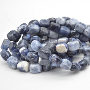 "High Quality Grade A Natural Sodalite Semi-precious Gemstone Rectangular Nugget Beads - approx 12mm - 15mm - 15.5"" long"