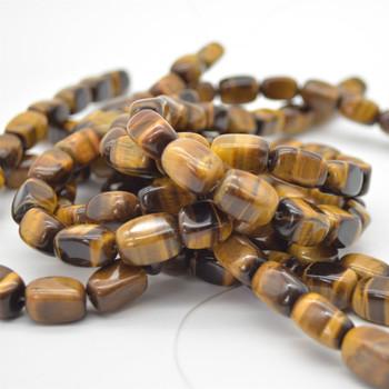"High Quality Grade A Natural Tiger's Eye Semi-precious Gemstone Rectangular Nugget Beads - approx 12mm - 15mm - 15.5"" long"