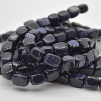 """Blue Goldstone Rectangular Nugget Beads - approx 10mm - 12mm - 15.5"""" long"""