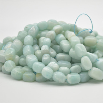 "High Quality Grade A Natural Amazonite Semi-precious Rectangular Gemstone Nugget Beads - approx 9mm - 12mm - 15.5"" long"