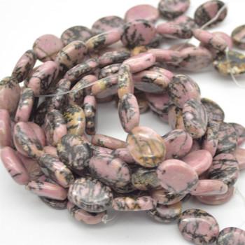 "High Quality Grade A Natural Rhodonite Semi Precious Gemstone Oval Beads - 16mm x 12mm - Approx 15.5"" strand"
