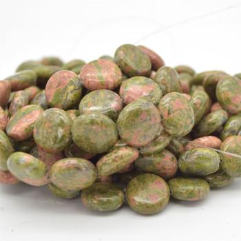 "High Quality Natural Grade A Unakite Semi-precious Gemstone Disc Coin Beads - approx 14mm - 15.5"" long strand"