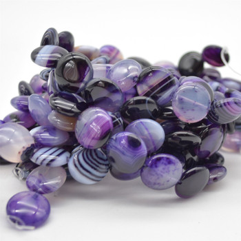 """High Quality Grade A Purple Banded Agate Semi-precious Gemstone Disc Coin Beads - approx 16mm - 15.5"""" long strand"""