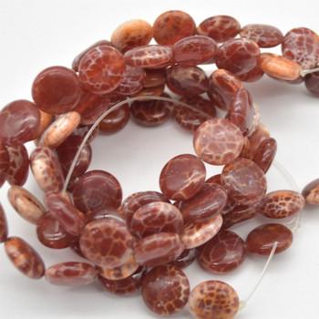 "High Quality Grade A Fire Agate Semi-precious Gemstone Disc Coin Beads - approx 14mm - 15.5"" long strand"