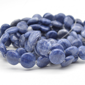 "High Quality Natural Grade A Sodalite Semi-precious Gemstone Disc Coin Beads - approx 14mm - 15.5"" long strand"