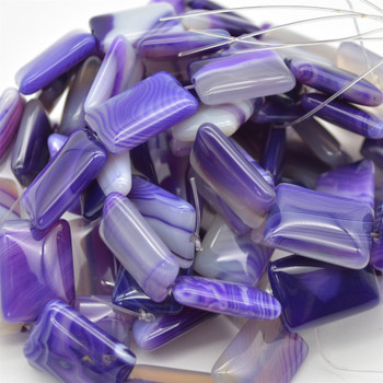 """High quality Grade A Purple Banded Agate semi-precious gemstone rectangle beads - approx 18mm x 25mm - 15.5"""" long strand"""