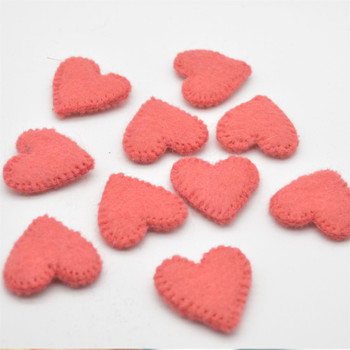 100% Wool Felt Flat Fabric Sewn / Stitched Felt Heart - 20 Count - approx 4cm - Light Coral Red