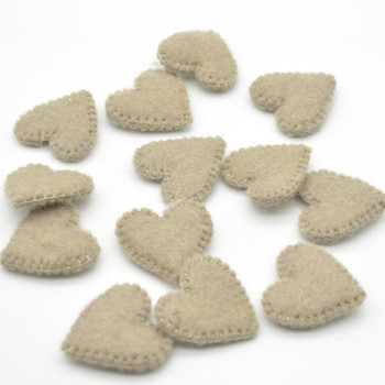 100% Wool Felt Flat Fabric Sewn / Stitched Felt Heart - 20 Count - approx 4cm - Taupe Grey