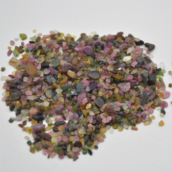 Natural Mulit-Coloured Tourmaline Tumblestone Chips - approx 100g - approx 3mm - 10mm