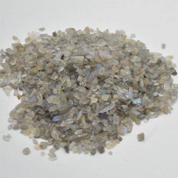 Natural Labradorite Tumblestone Chips - approx 100g - approx 3mm - 10mm
